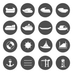 Water transport Circle Icons