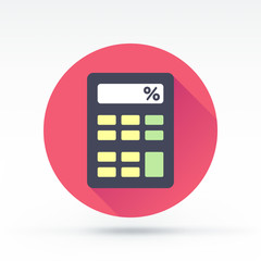 Flat style with long shadows, calculator vector icon