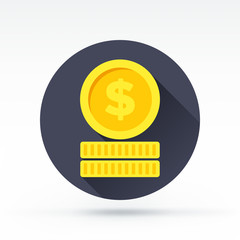 Flat style with long shadows, coins vector icon