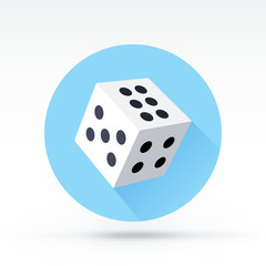 Flat style with long shadows, dice vector icon