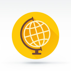 Flat style with long shadows, desk globe vector icon