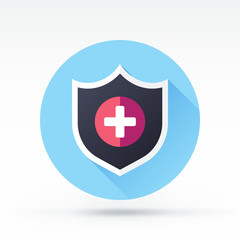 Flat style with long shadows, shield vector icon