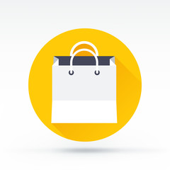 Flat style with long shadows, shopping bag vector icon