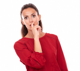 Adult brunette wondering with mouth gesture