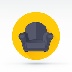 Flat style with long shadows, sofa vector icon