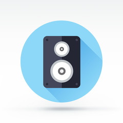 Flat style with long shadows, speaker vector icon