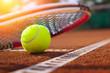 Leinwanddruck Bild - .tennis ball on a tennis court