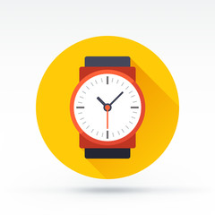 Flat style with long shadows, watch vector icon