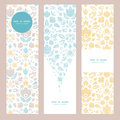 Abstract vintage ornamental tulips textile vertical banner set