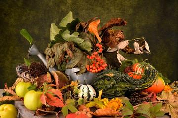 frutta e zucche composizione autunnale
