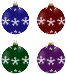 Illustration of christmas balls with snowflakes in 4 colours