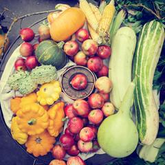 vegetables and fruits heap, autumn still life