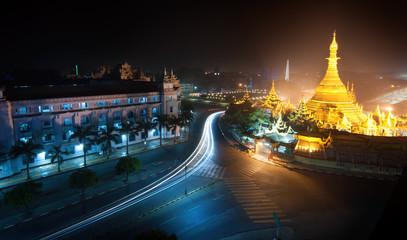 Yangon Myanmar, night cityscape with Sule pagoda