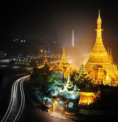 Yangon Myanmar, night cityscape panorama with Sule pagoda