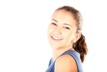 Teenage girl is smiling