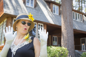 Surprised Woman in Twenties Outfit Near Antique House