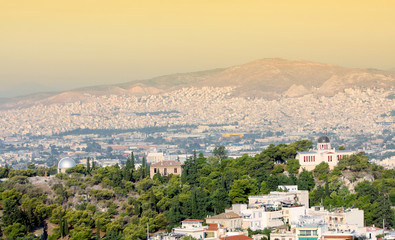 View of city and National Observatory in Athens