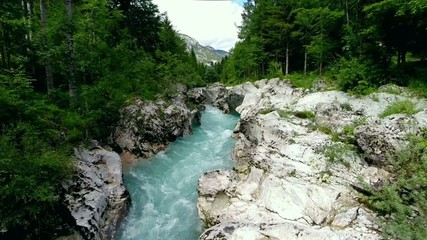 flying over mountain river (soca, slovenia)
