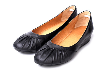 Black leather womens casual shoes