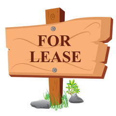For lease, wooden sign, board