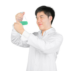 Asian scientist holding a flask of liquid, isolated on white cli