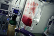 Blood bag in the middle of the ward with many of medical equipme