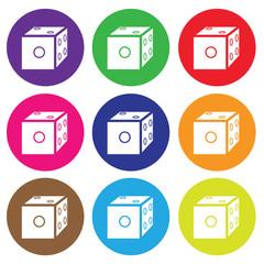 dice icon color set vector