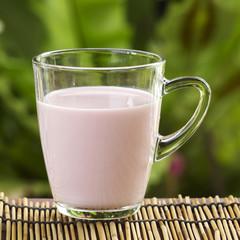 Glass of Strawberry flavor Milk