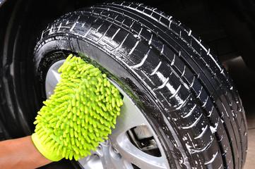washing the car