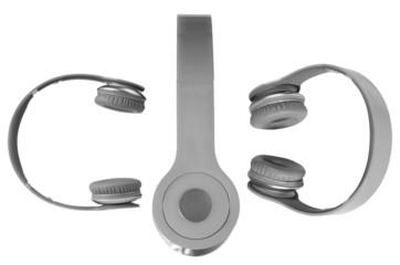 Set of headphones against white background.