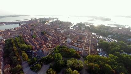 aerial view of venice, giardini
