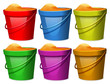 Colourful pails with sands - 70062861