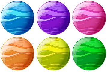 Six colourful balls