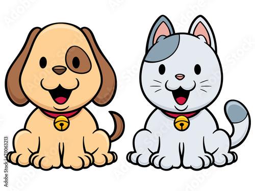 Fototapeta Vector illustration of cartoon cat and dog
