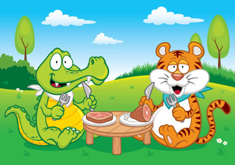 Vector illustration of Cartoon crocodile and tiger eating