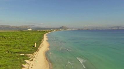 aerial view of beach in majorca, spain