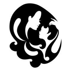 Mother and baby silhouette symbol. Vector illustration.