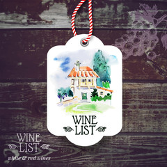 Vintage wine label. Hand drawn watercolor illustration.