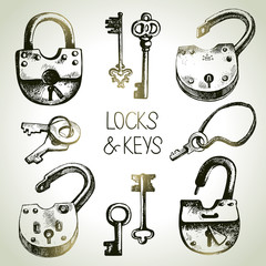 Hand drawn sketch locks and keys set. Vector illustration