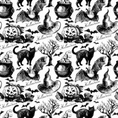 Sketch Halloween seamless pattern. Hand drawn vector