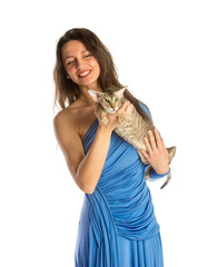 Pretty girl in night dress with cat, isolated in white