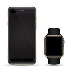 Smartphone black gold with smart watch