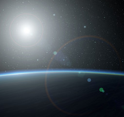 Blue planet with nebula and sun.