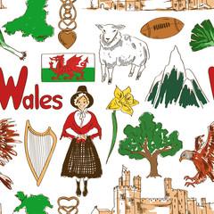Sketch Wales seamless pattern