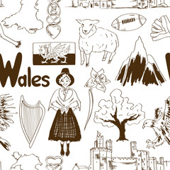 Sketch Wales seamless pattern