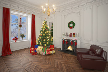 Luxury apartment decorated for christmas