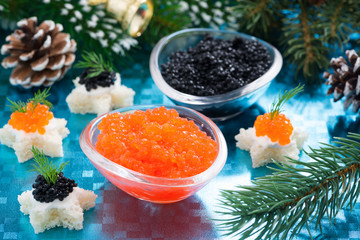 Christmas appetizers - red and black caviar