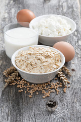 fresh products - oatmeal, eggs, cottage cheese and milk