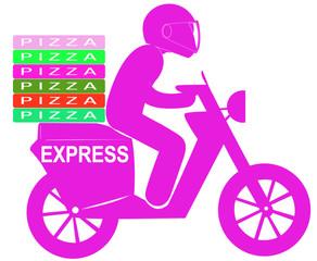 livreur express de pizzas à domicile sur scooter