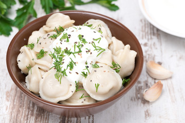 traditional Russian dumplings with sour cream, top view